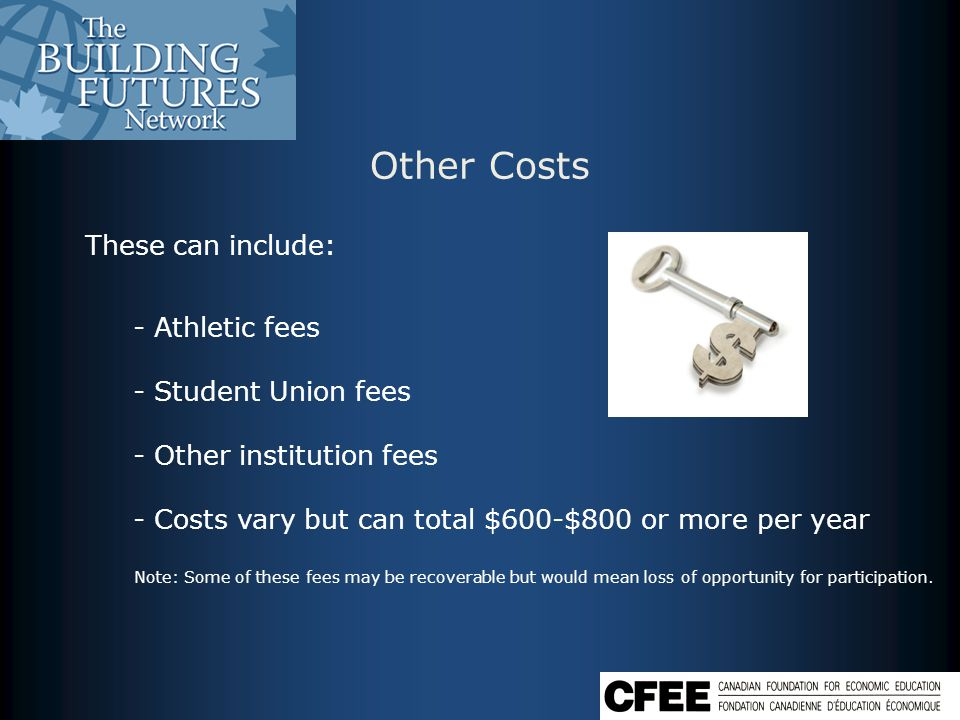 Other Costs These can include: - Athletic fees - Student Union fees - Other institution fees - Costs vary but can total $600-$800 or more per year Note: Some of these fees may be recoverable but would mean loss of opportunity for participation.