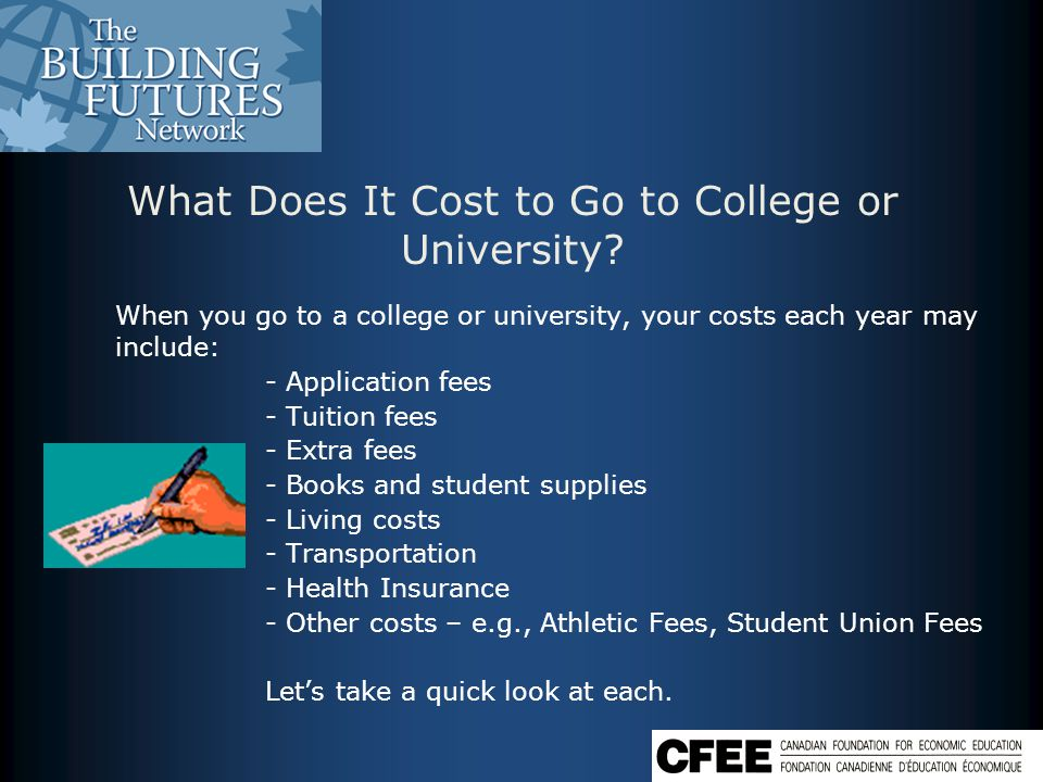 Application Fees There are costs associated with applying to post - secondary institutions.