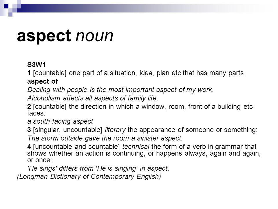 aspect noun S3W1 1 [countable] one part of a situation, idea, plan etc that has many parts aspect of Dealing with people is the most important aspect of my work.