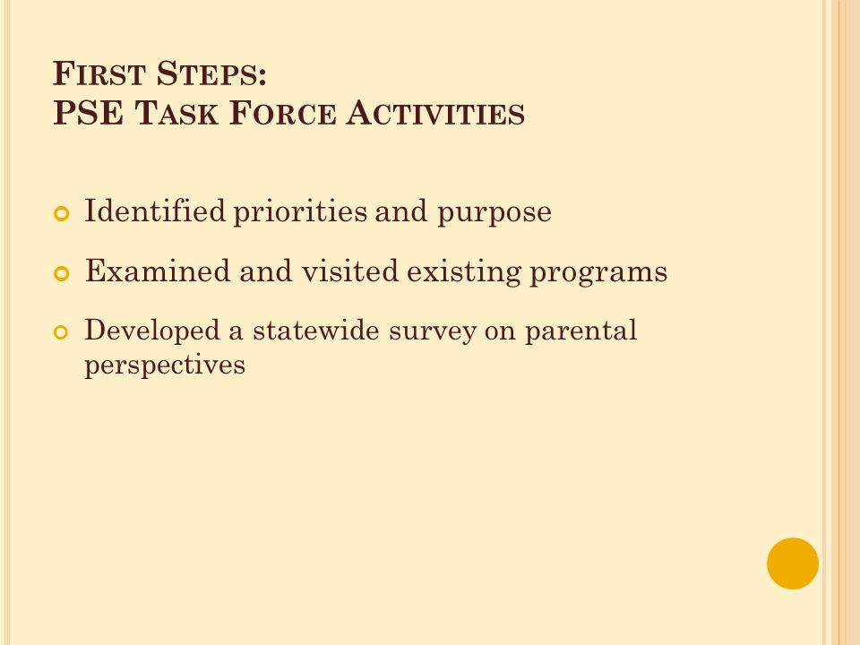 F IRST S TEPS : PSE T ASK F ORCE A CTIVITIES Identified priorities and purpose Examined and visited existing programs Developed a statewide survey on parental perspectives