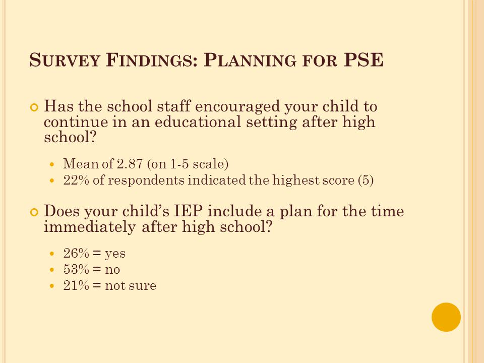 S URVEY F INDINGS : P LANNING FOR PSE Has the school staff encouraged your child to continue in an educational setting after high school.