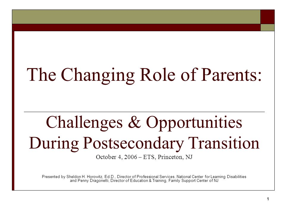 2 Parental Role in Special Education Pre-transition  Decision maker/ Team member  Source of information  Source of support  Advocate for student  Teacher of self- advocacy skills