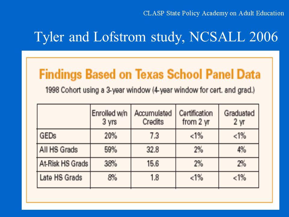 Tyler and Lofstrom study, NCSALL 2006