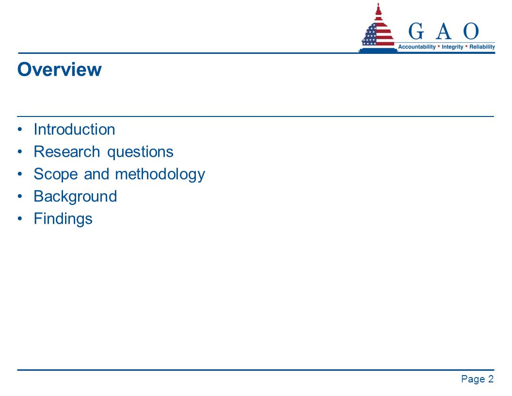 Overview Introduction Research questions Scope and methodology Background Findings Page 2
