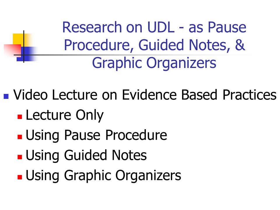 Research on UDL - as Pause Procedure, Guided Notes, & Graphic Organizers Video Lecture on Evidence Based Practices Lecture Only Using Pause Procedure Using Guided Notes Using Graphic Organizers