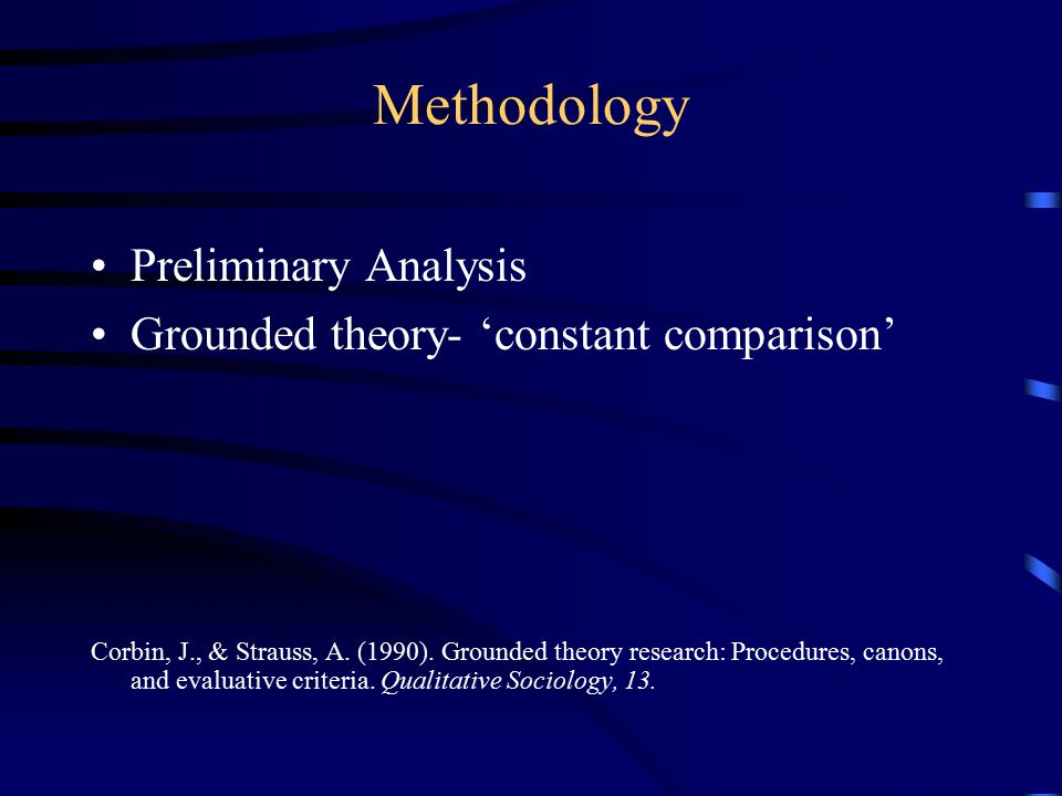 Methodology Preliminary Analysis Grounded theory- 'constant comparison' Corbin, J., & Strauss, A.