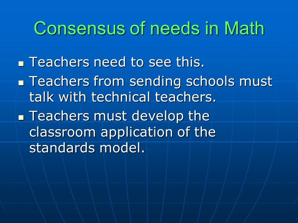 Consensus of needs in Math Teachers need to see this.