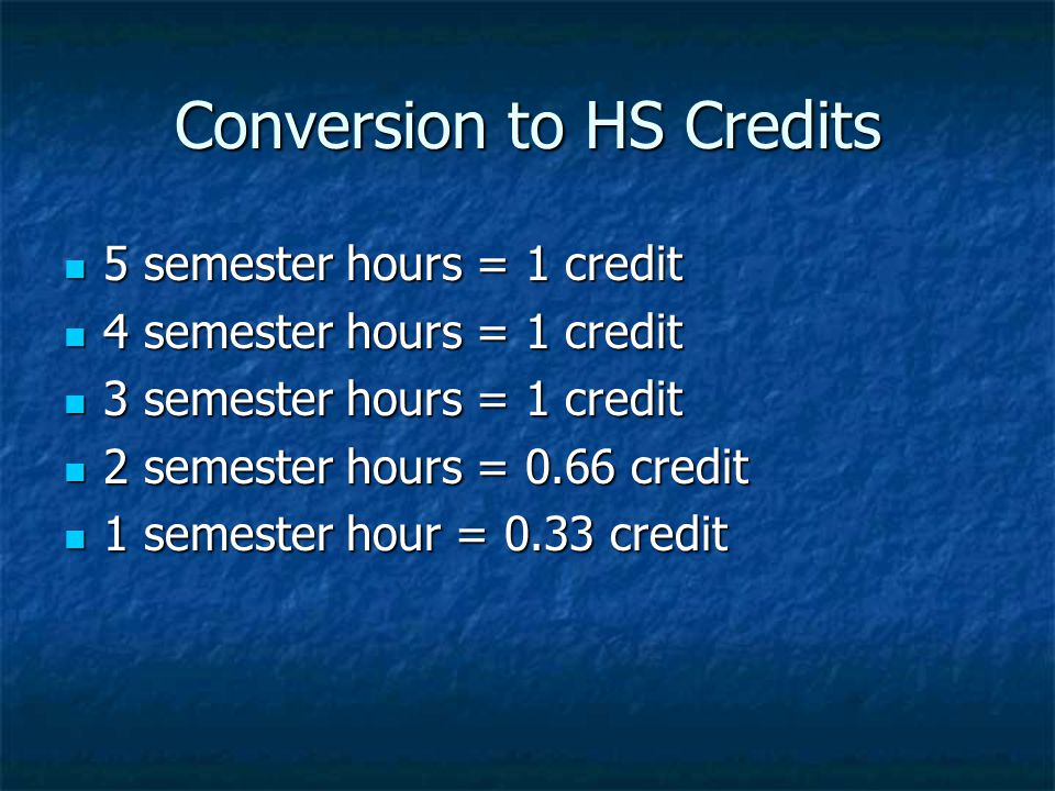 Conversion to HS Credits 5 semester hours = 1 credit 5 semester hours = 1 credit 4 semester hours = 1 credit 4 semester hours = 1 credit 3 semester hours = 1 credit 3 semester hours = 1 credit 2 semester hours = 0.66 credit 2 semester hours = 0.66 credit 1 semester hour = 0.33 credit 1 semester hour = 0.33 credit