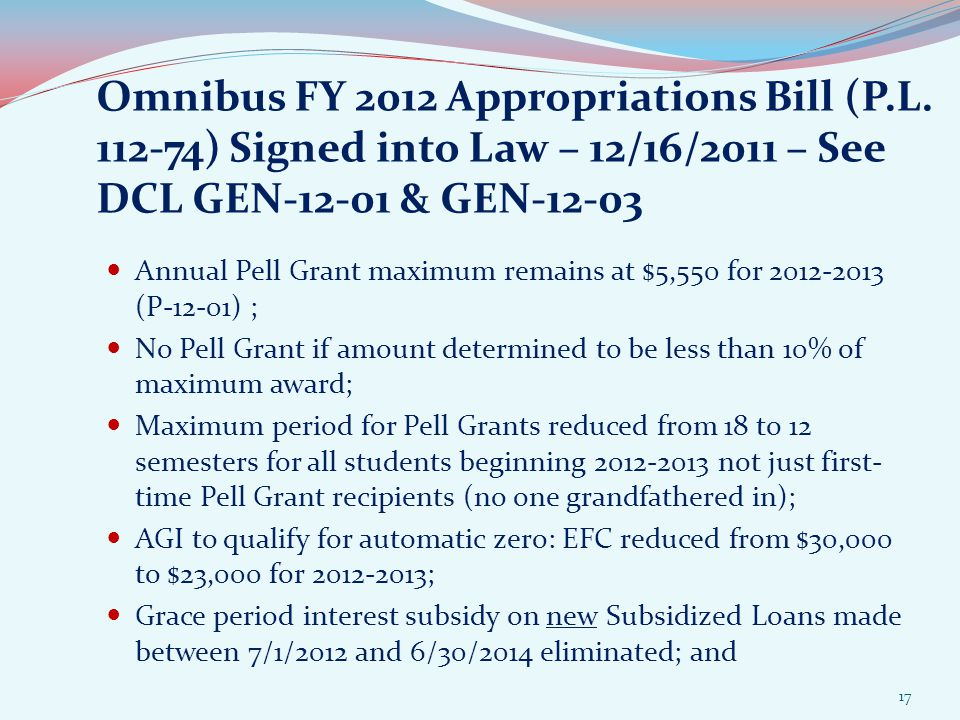 Omnibus FY 2012 Appropriations Bill (P.L.
