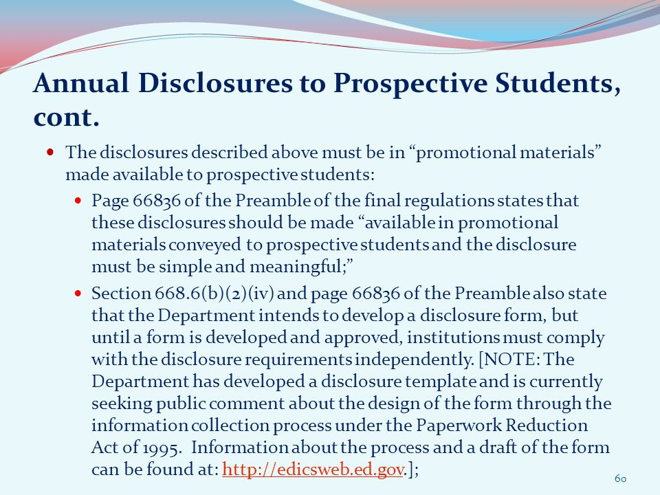Annual Disclosures to Prospective Students, cont.