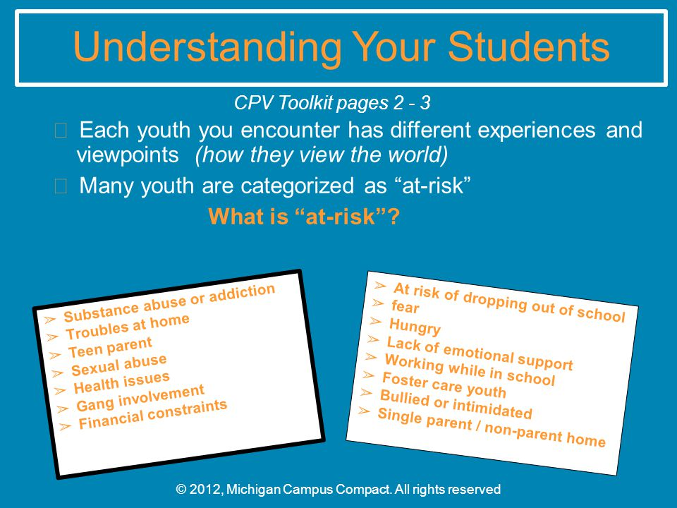 Understanding Your Students  Each youth you encounter has different experiences and viewpoints (how they view the world)  Many youth are categorized