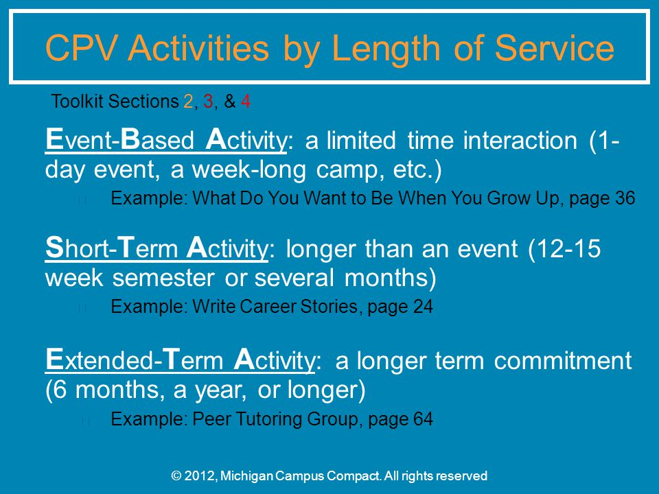 E vent- B ased A ctivity: a limited time interaction (1- day event, a week-long camp, etc.) Example: What Do You Want to Be When You Grow Up, page 36 S hort- T erm A ctivity: longer than an event (12-15 week semester or several months) Example: Write Career Stories, page 24 E xtended- T erm A ctivity: a longer term commitment (6 months, a year, or longer) Example: Peer Tutoring Group, page 64 © 2012, Michigan Campus Compact.