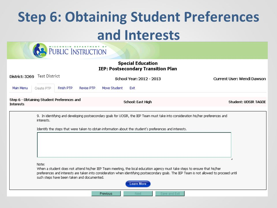Step 6: Obtaining Student Preferences and Interests Test District