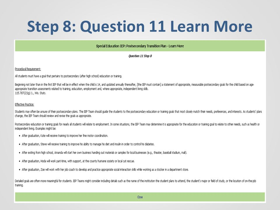 Step 8: Question 11 Learn More