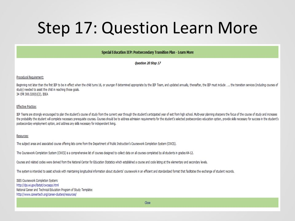 Step 17: Question Learn More