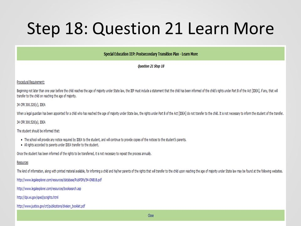 Step 18: Question 21 Learn More