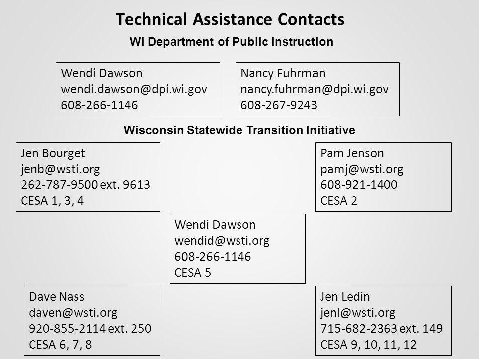 Technical Assistance Contacts Wendi Dawson wendi.dawson@dpi.wi.gov 608-266-1146 Pam Jenson pamj@wsti.org 608-921-1400 CESA 2 Jen Bourget jenb@wsti.org 262-787-9500 ext.