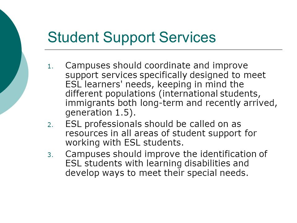 Student Support Services 1.