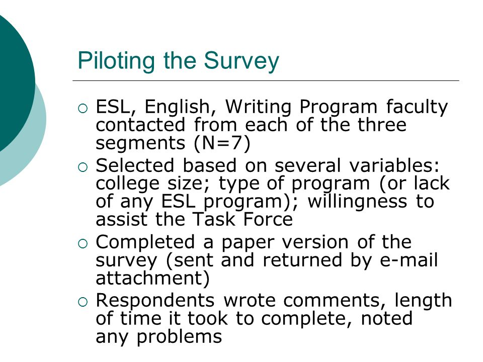 Piloting the Survey  ESL, English, Writing Program faculty contacted from each of the three segments (N=7)  Selected based on several variables: college size; type of program (or lack of any ESL program); willingness to assist the Task Force  Completed a paper version of the survey (sent and returned by e-mail attachment)  Respondents wrote comments, length of time it took to complete, noted any problems
