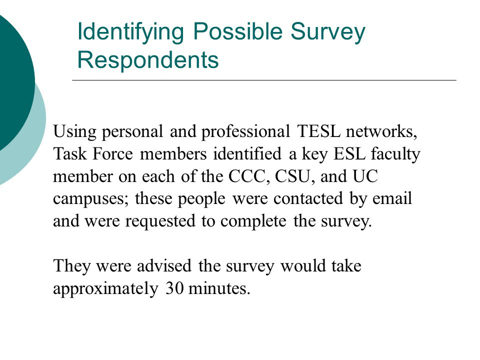 Identifying Possible Survey Respondents Using personal and professional TESL networks, Task Force members identified a key ESL faculty member on each of the CCC, CSU, and UC campuses; these people were contacted by email and were requested to complete the survey.
