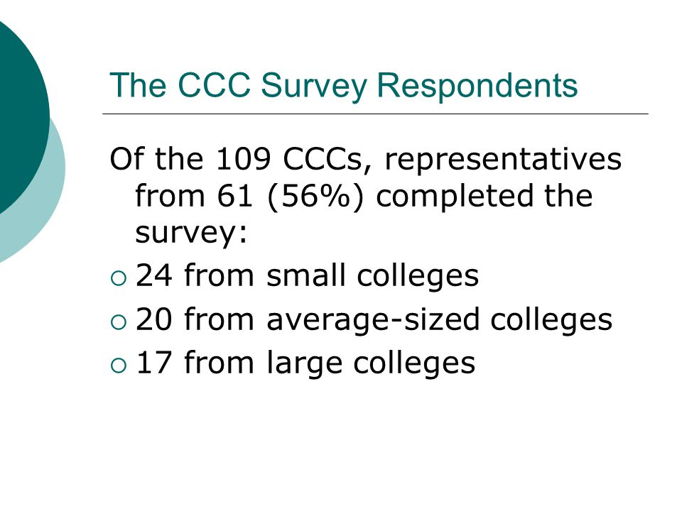 The CCC Survey Respondents Of the 109 CCCs, representatives from 61 (56%) completed the survey:  24 from small colleges  20 from average-sized colleges  17 from large colleges