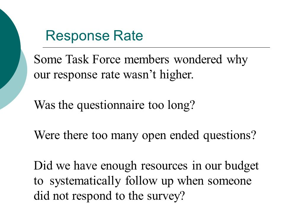 Response Rate Some Task Force members wondered why our response rate wasn't higher.
