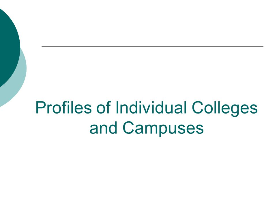 Profiles of Individual Colleges and Campuses