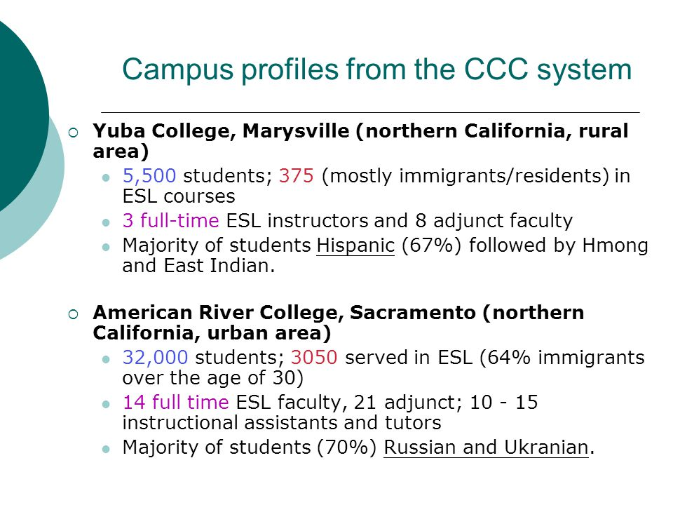 Campus profiles from the CCC system  Yuba College, Marysville (northern California, rural area) 5,500 students; 375 (mostly immigrants/residents) in ESL courses 3 full-time ESL instructors and 8 adjunct faculty Majority of students Hispanic (67%) followed by Hmong and East Indian.