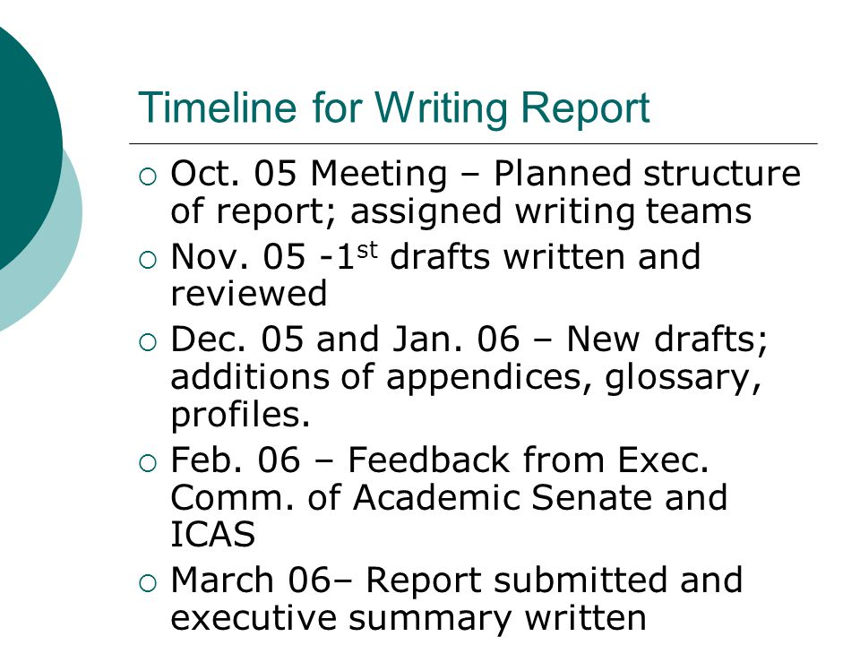 Timeline for Writing Report  Oct.