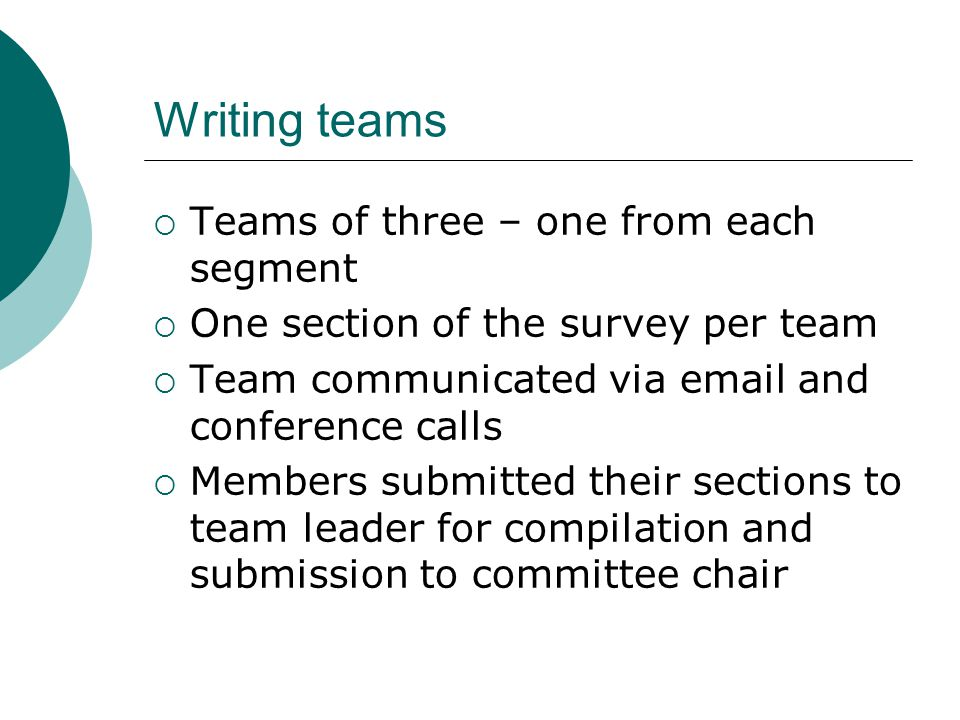 Writing teams  Teams of three – one from each segment  One section of the survey per team  Team communicated via email and conference calls  Members submitted their sections to team leader for compilation and submission to committee chair