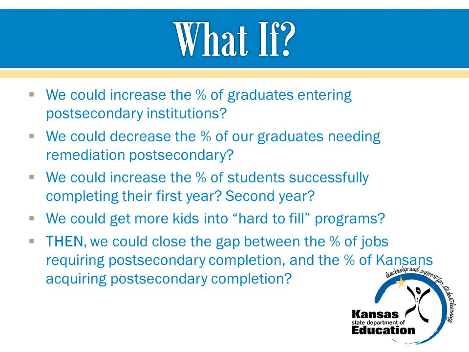  We could increase the % of graduates entering postsecondary institutions.