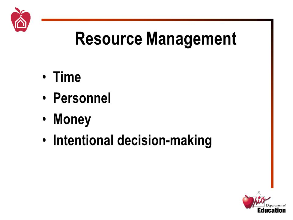Resource Management Time Personnel Money Intentional decision-making