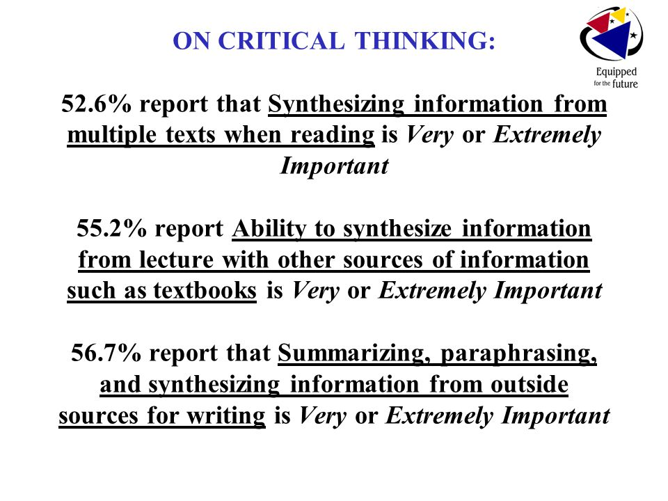 ON CRITICAL THINKING: 52.6% report that Synthesizing information from multiple texts when reading is Very or Extremely Important 55.2% report Ability to synthesize information from lecture with other sources of information such as textbooks is Very or Extremely Important 56.7% report that Summarizing, paraphrasing, and synthesizing information from outside sources for writing is Very or Extremely Important