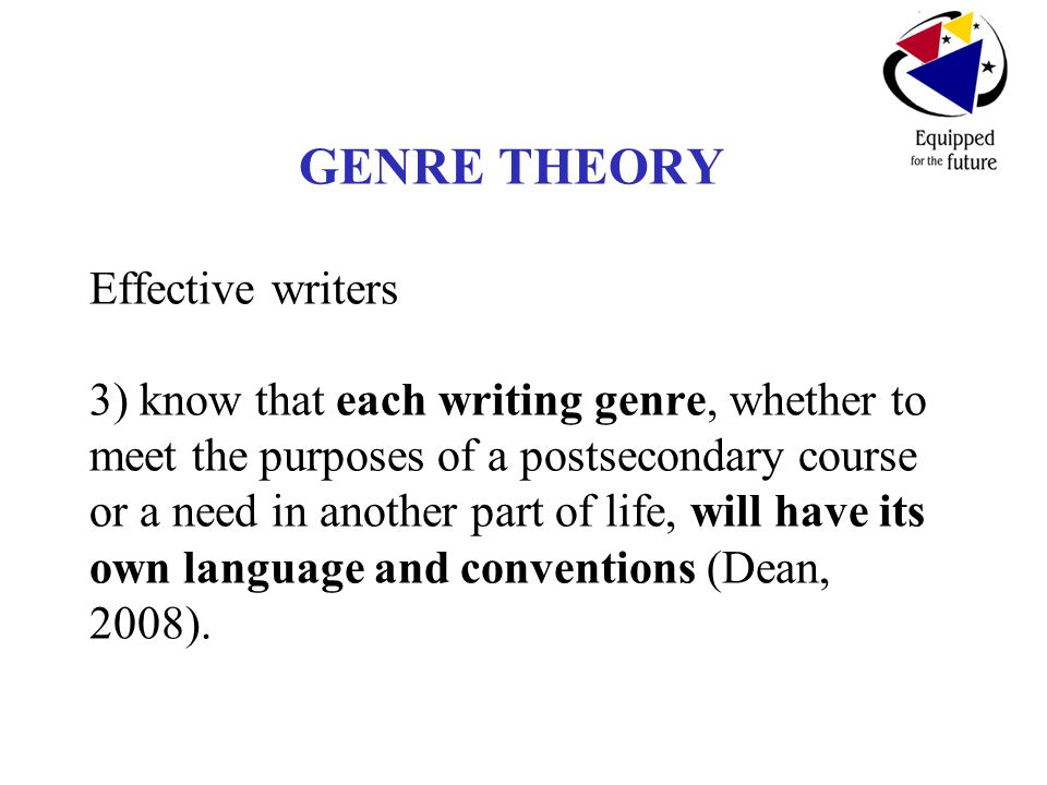 GENRE THEORY Effective writers 3) know that each writing genre, whether to meet the purposes of a postsecondary course or a need in another part of life, will have its own language and conventions (Dean, 2008).