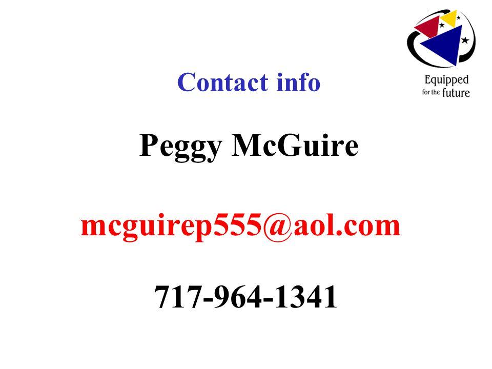 Contact info Peggy McGuire mcguirep555@aol.com 717-964-1341