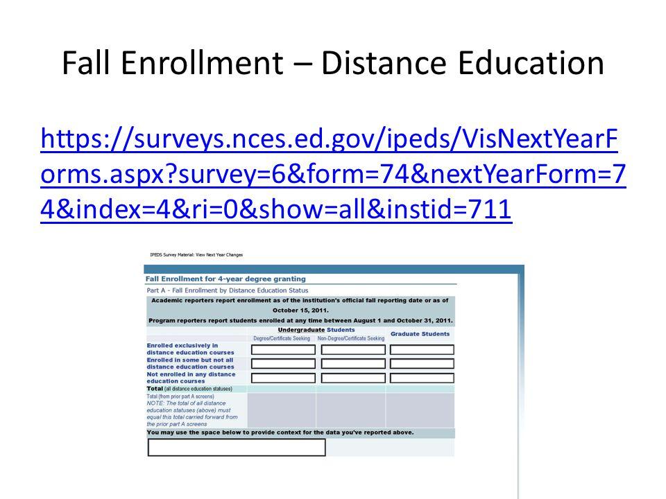 Fall Enrollment – Distance Education https://surveys.nces.ed.gov/ipeds/VisNextYearF orms.aspx survey=6&form=74&nextYearForm=7 4&index=4&ri=0&show=all&instid=711