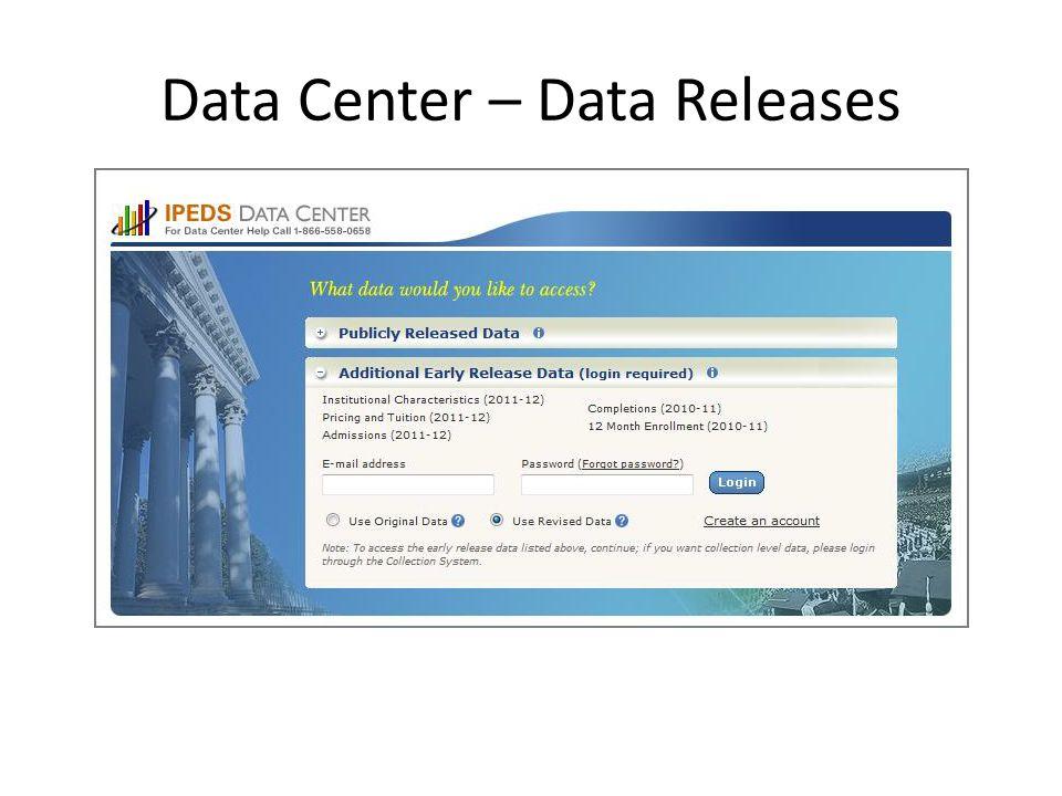 Data Center – Data Releases
