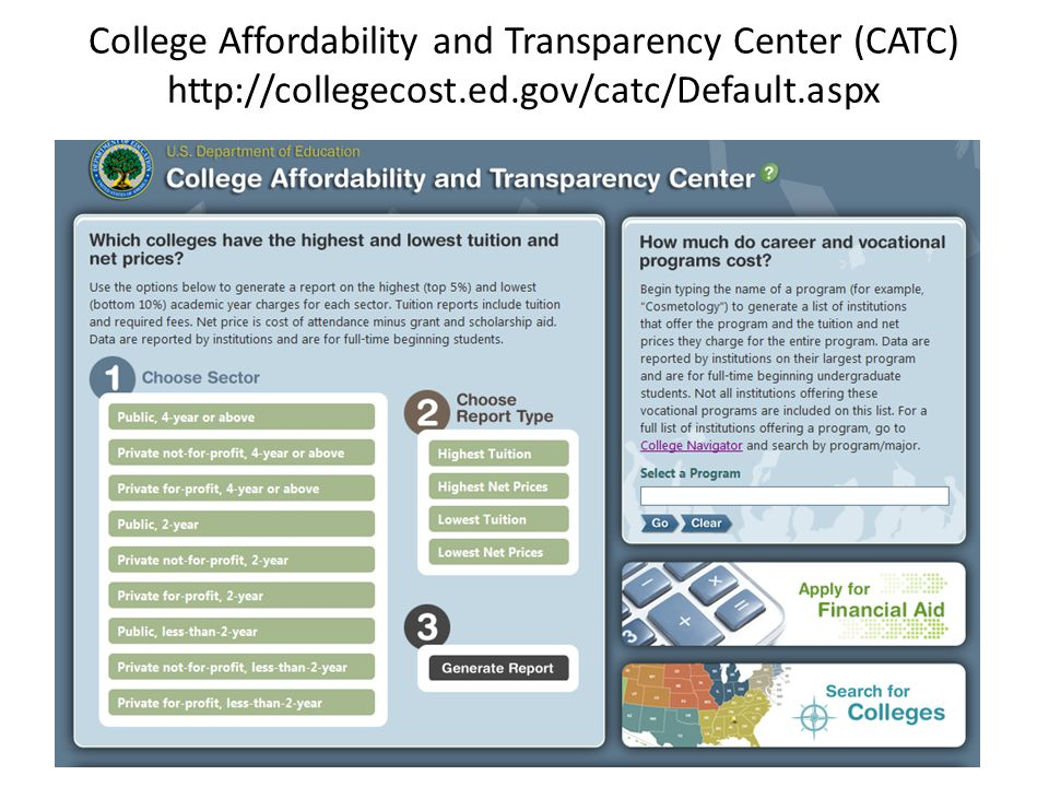 College Affordability and Transparency Center (CATC) http://collegecost.ed.gov/catc/Default.aspx