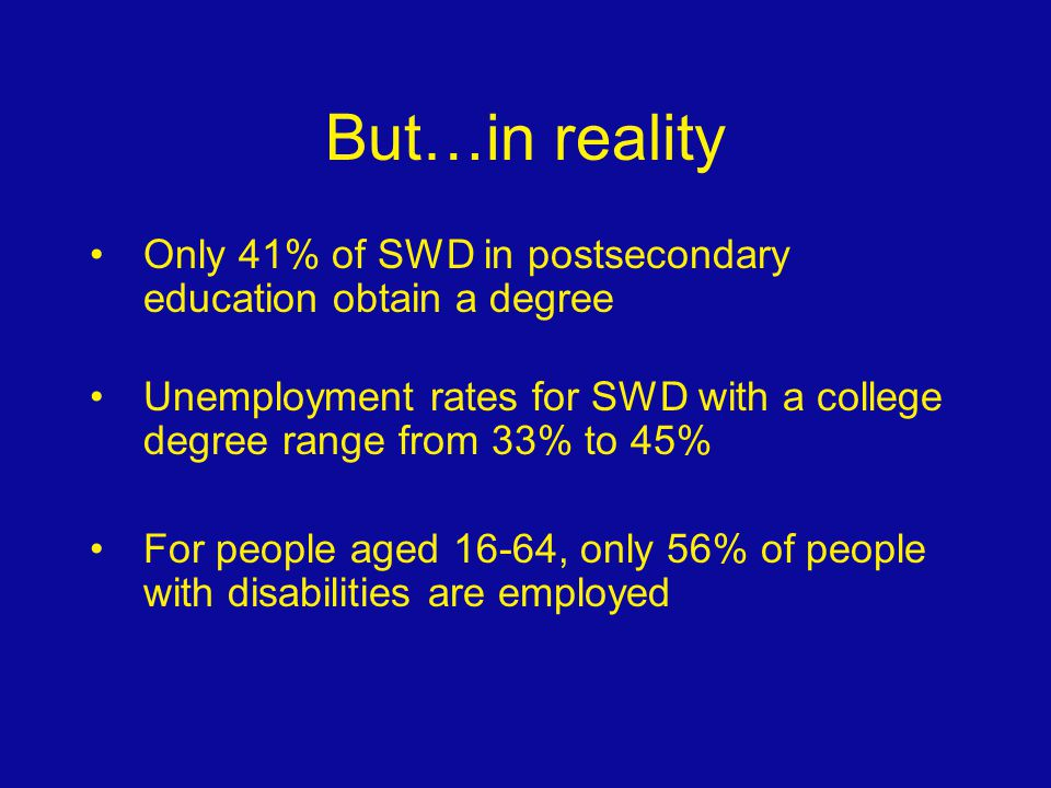 But…in reality Only 41% of SWD in postsecondary education obtain a degree Unemployment rates for SWD with a college degree range from 33% to 45% For p