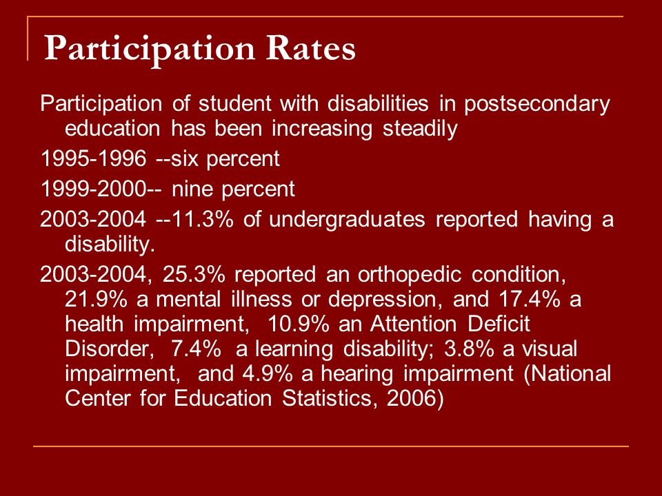 Participation Rates Participation of student with disabilities in postsecondary education has been increasing steadily 1995-1996 --six percent 1999-2000-- nine percent 2003-2004 --11.3% of undergraduates reported having a disability.