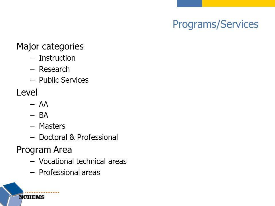 Programs/Services Major categories –Instruction –Research –Public Services Level –AA –BA –Masters –Doctoral & Professional Program Area –Vocational te