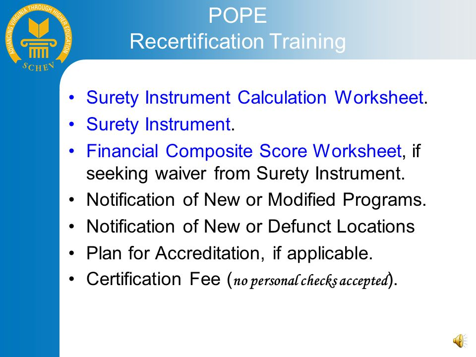 POPE Recertification Training Surety Instrument Calculation Worksheet.