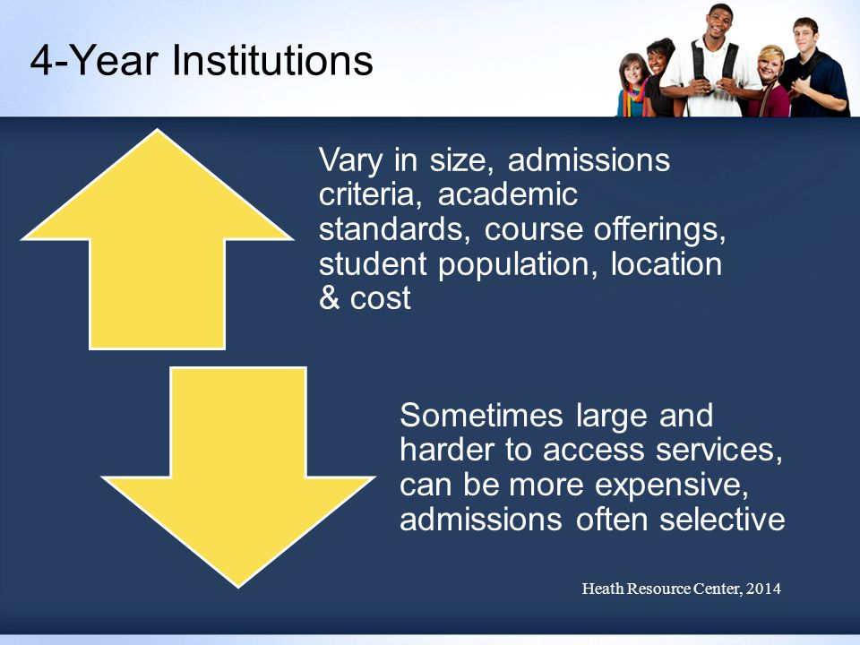 4-Year Institutions Vary in size, admissions criteria, academic standards, course offerings, student population, location & cost Sometimes large and harder to access services, can be more expensive, admissions often selective Heath Resource Center, 2014