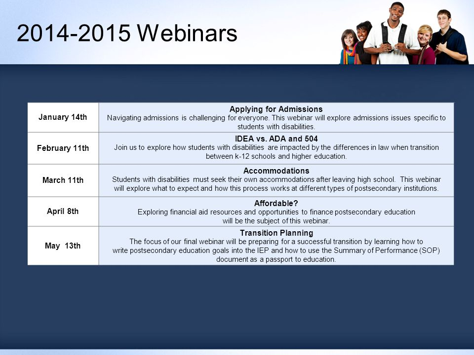 2014-2015 Webinars January 14th Applying for Admissions Navigating admissions is challenging for everyone.