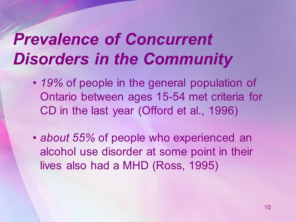 10 Prevalence of Concurrent Disorders in the Community 19% of people in the general population of Ontario between ages 15-54 met criteria for CD in the last year (Offord et al., 1996) about 55% of people who experienced an alcohol use disorder at some point in their lives also had a MHD (Ross, 1995)
