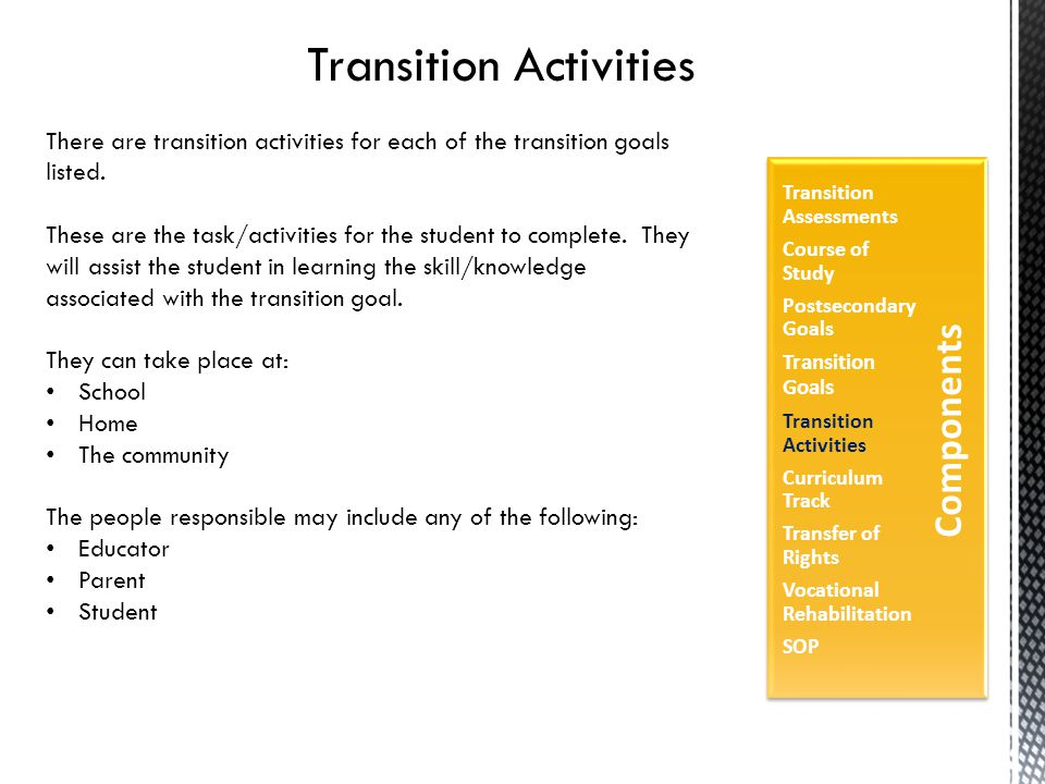 Transition Activities There are transition activities for each of the transition goals listed.