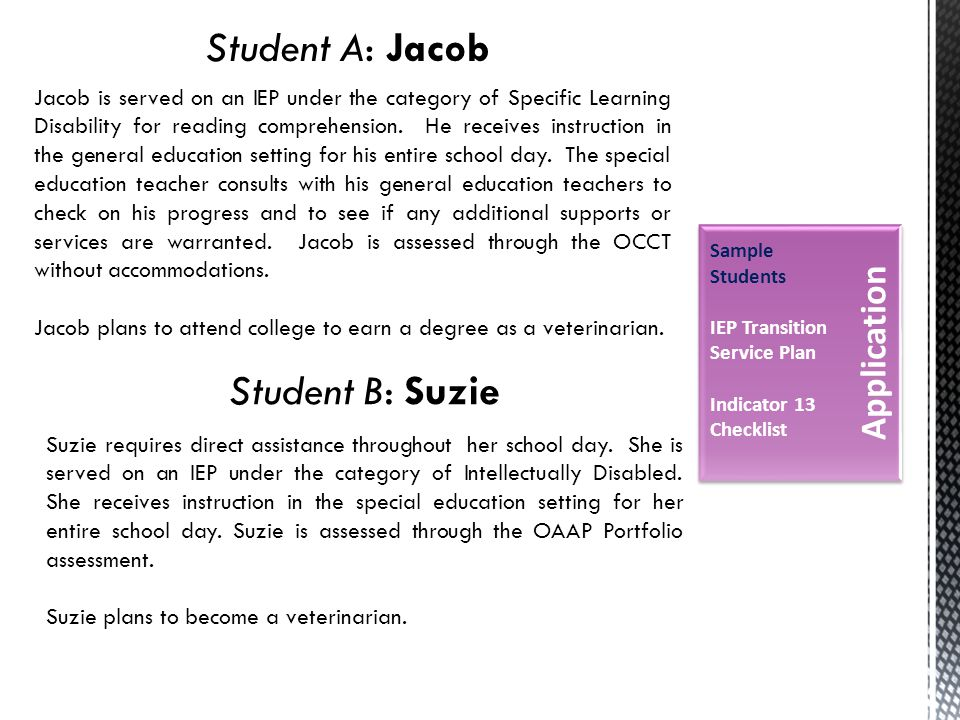 Sample Students IEP Transition Service Plan Indicator 13 Checklist Student A: Jacob Jacob is served on an IEP under the category of Specific Learning Disability for reading comprehension.