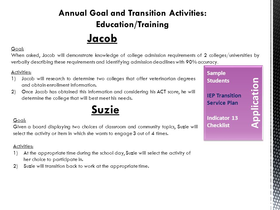 Jacob Goal: When asked, Jacob will demonstrate knowledge of college admission requirements of 2 colleges/universities by verbally describing these requirements and identifying admission deadlines with 90% accuracy.