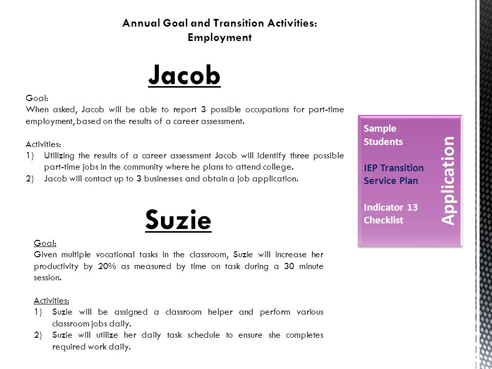 Annual Goal and Transition Activities: Employment Jacob Goal: When asked, Jacob will be able to report 3 possible occupations for part-time employment, based on the results of a career assessment.