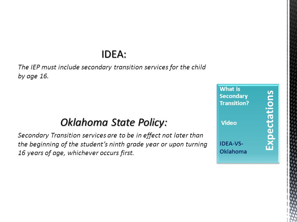 IDEA: The IEP must include secondary transition services for the child by age 16.